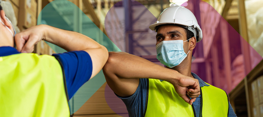 Warehouse workers, covid19 restrictions, social distancing
